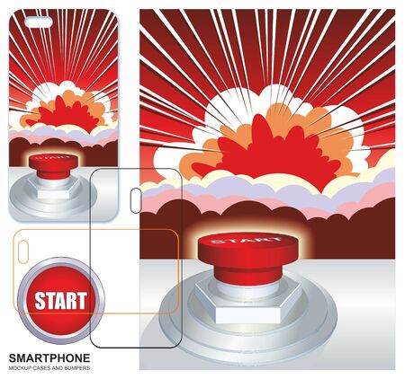 Mobile phone cover design. Comic pop art flash background. Cartoon vector illustration of a powerful explosion, the flash, Mobile phone cover back.