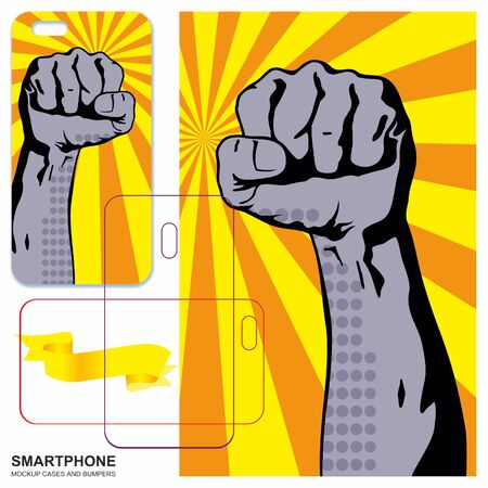 Mobile phone cover design. A man's hand, clenched in a fist, reaches up. gesture of the winner, battle. Mobile phone cover back.