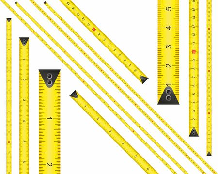 Yellow Measure Tape. Centimeter and Inch. Dual Scale. Ruler measuring tapes. Vector long tape set for measure, inches and metric meters. Measure Tool Equipment Several Variants, Proportional Scaled.