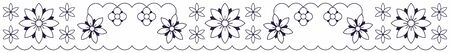 Floral decor set, simple floral pattern of lines.
