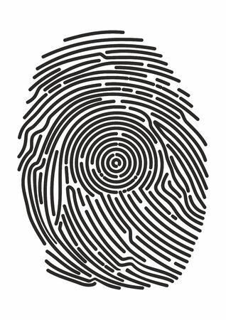 Impronta digitale dell'icona. Impronte identificative. Sicurezza e impronte delle dita per passare l'accesso. Sistema di bioriconoscimento, metodi di identificazione Vettoriali