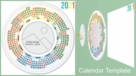 Calendar 2021. Colorful round calendar 2021. Calendar Template. Week Starts Monday. Planned for 2021 Year.  イラスト・ベクター素材