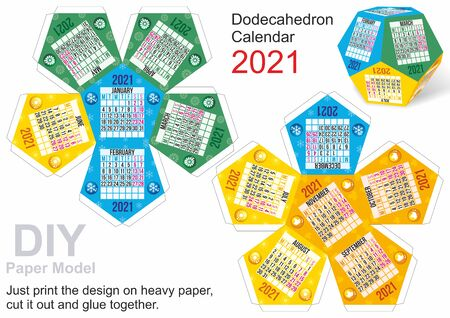 Calendar 2021, Dodecahedron Calendar. Week starts Monday. Weekend days highlighted, Paper Model DIY. Small home craft project, DIY paper game. Cut out, fold and glue. 12 sided calendar.