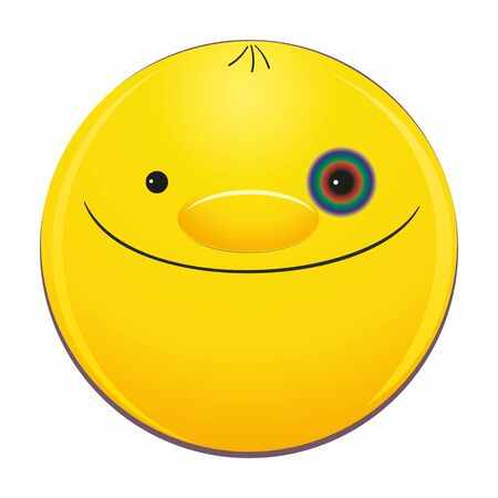 Emoticon face with a black eye is smiling happily.