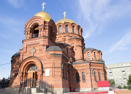 NOVOSIBIRSK, RUSSIA - AUGUST 2, 2019: Alexander Nevsky Cathedral. Orthodox Cathedral in the neo-Byzantine style, built in 1899 in the name of St. Alexander Nevsky. 報道画像