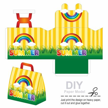 Retail Bag or Box with Die Cut Template with a fun image of summer, rainbows, fun. Children's handbag toy. Box design, die-stamping. Vector template