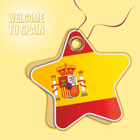Welcome to Spain. Flag of Spain, Travel to the Kingdom of Spain. product emblem. Label price tag in the form of a paper star. Bright, beautiful vector image for any of your projects.
