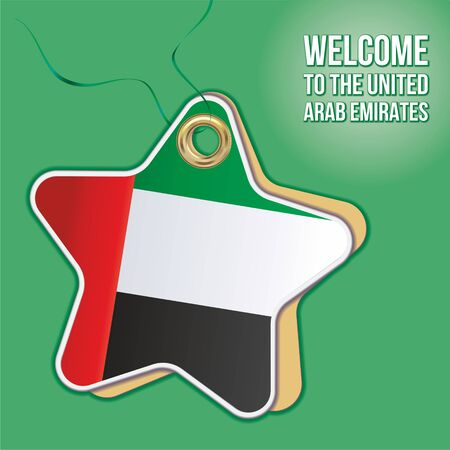Welcome to UAE. Welcome to the United Arab Emirates. Flag of the United Arab Emirates, Illustration design stamp labels, signs. patriotic signs, product emblem. Vector illustration