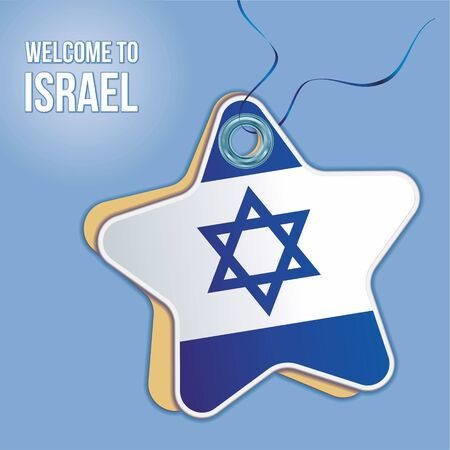 Welcome to Israel. Flag of Israel, Travel to the State of Israel. product emblem. Label price tag in the form of a paper star. Bright, beautiful vector image for any of your projects.  イラスト・ベクター素材