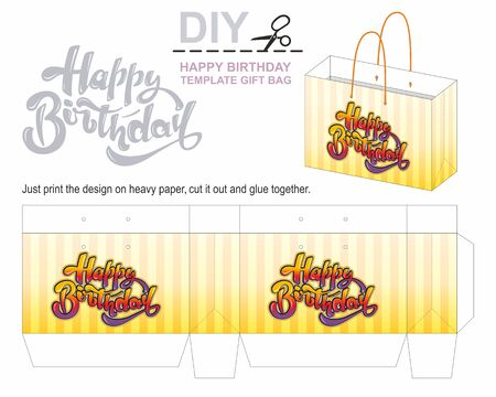 Happy birthday Gift paper bag template, present bag. Beautiful illustrations with calligraphy text Happy Birthday. Hand drawn, design elements, vector lettering. Perfect for greetings.