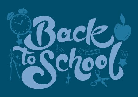Back to School. Beautiful greeting card poster with calligraphy text. Hand drawn calligraphy lettering, design elements. Perfect for greeting card. Education concept.