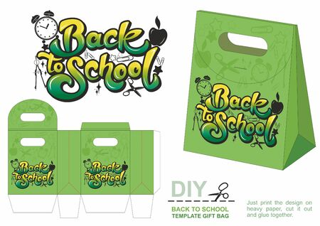 Back to School. Gift paper bag template, present bag. Beautiful illustrations with calligraphy text Back to School. Hand drawn calligraphy lettering, design elements. Education concept.  イラスト・ベクター素材