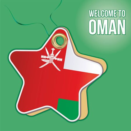 Welcome to Oman. Flag of Oman, Travel to the Sultanate of Oman. product emblem. Label price tag in the form of a paper star. Bright, beautiful vector image for any of your projects.
