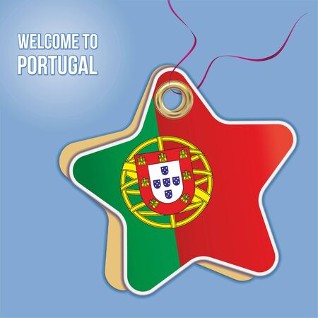 Welcome to Portugal, Flag of Portugal, Travel to the Portuguese Republic. Label price tag in the form of a paper star. Bright, beautiful vector image for any of your projects.