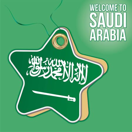 Welcome to Saudi Arabia, Flag of Saudi Arabia. Travel to the Kingdom of Saudi Arabia. Label price tag in the form of a paper star. Bright, beautiful vector image for any of your projects.