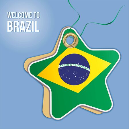 Welcome to Brazil, Flag of Brazil i. Travel to the Federative Republic of Brazil. Label price tag in the form of a paper star. Bright, beautiful vector image for any of your projects.