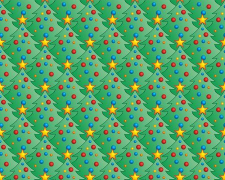 Seamless background with Christmas mood. Pattern with Christmas trees and Christmas toys.