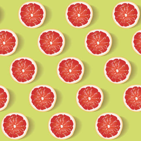 Seamless pattern with slices of red juicy grapefruit on a bright green background. Background for the design of wallpaper, fabric and other. Vector illustration ready for print.