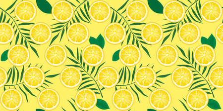Seamless pattern with slices of lemon and leaves of tropical plants. Background for the design of wallpaper, fabric and other. Vector illustration ready for print.
