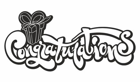 Congratulations - Typography, Lettering, Handwritten for greeting. Congratulations card. Hand lettering. Modern brush calligraphy. Handwritten phrase. Greeting card with a gift. Vector lettering.