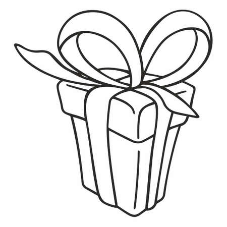 Gift box icon. Gift box with ribbon line icon, outline vector sign, linear style pictogram.