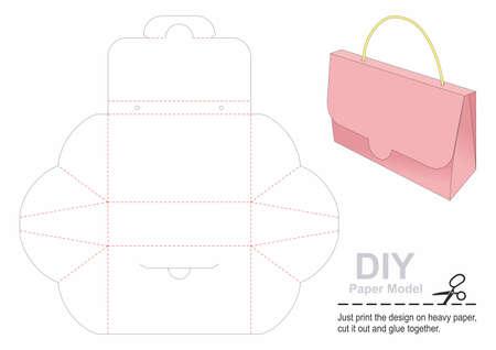 Gift Box Template. Paper Bag Self - folding. DIY.