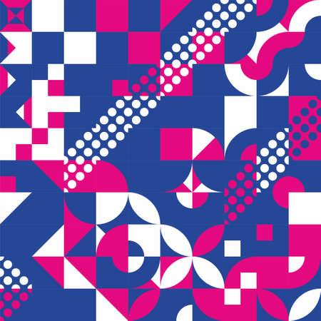 Bauhaus geometric pattern background, Geometry minimalistic artwork poster with simple shape and figure. Design in Scandinavian style for web, banner, presentation, package, fabric, wallpaper.