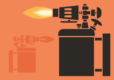 Image of blowtorch. A gas-fired heater. An antique tool for heating objects. Hand tool. Flat blowtorch icon. Vector Illustration