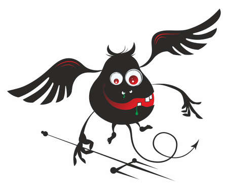 Cartoon character halloween devil. Cute cartoon monster waving hands with a pitchfork. Ilustración de vector