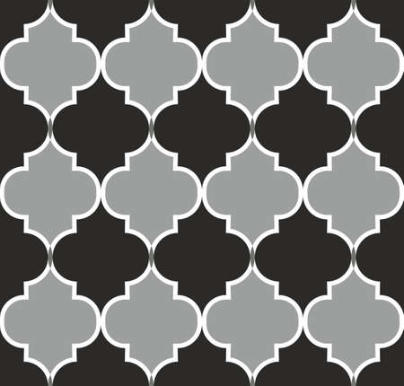 Seamless pattern with ogee ornament. Oriental traditional ornamentation with repeated tile shapes. Moroccan Mosque. Traditional ramadan pattern. Islamic argyle design of lantern lattice shape tiles.