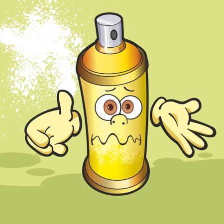 Graffiti spray. Spray paint with a human face. Spray Cartoon.