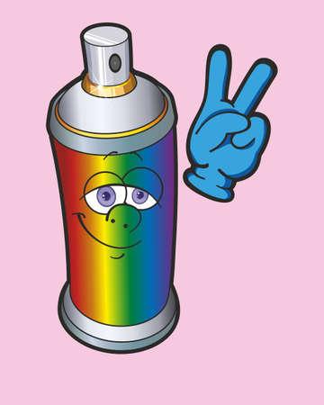 Graffiti spray. Spray paint with a human face. Spray Cartoon. Vector Illustration