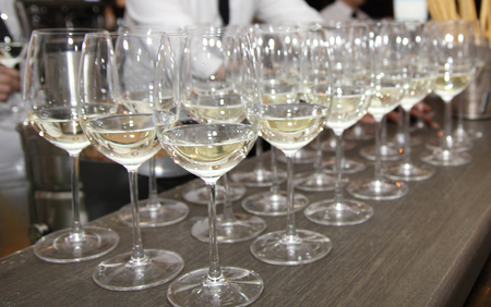 champagne region: striped white wine on the table Stock Photo