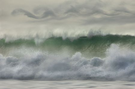 Big waves pounding on the North Shore of Hawaii. Stock Photo
