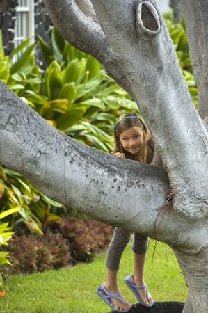 Little girl playing and smiling as she looks at camera trying to climb a big tree.