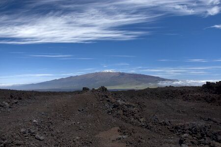 View of Mauna Kea Volcano in the Big Island National Park taken from Mauna Loa Volcano.Hawaii.