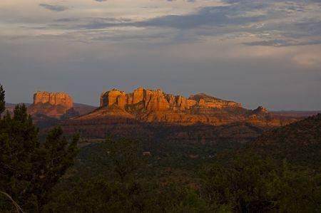 Red Rocks formation in Sedona, Arizona at bright sunset.