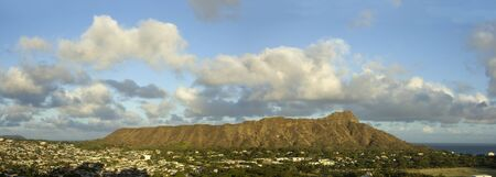 Panoramic view of Diamond Head crater  in the evening. Waikiki,Oahu,Hawaii.