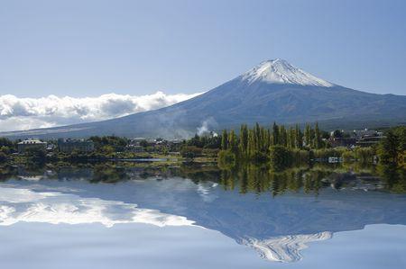 Mt Fuji on a clear day reflecting on a lake. Kawaguchi. Japan