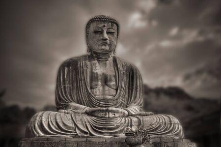 Big buddhas statue in Kamakura, Japan. Sepia tone.