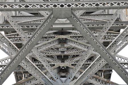 Steel bridge, architecture detail of the geometry of a bridge in Seattle ,Washington. Stock Photo