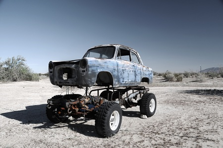 Abandoned all terrain drive car near the Salton Sea, California.