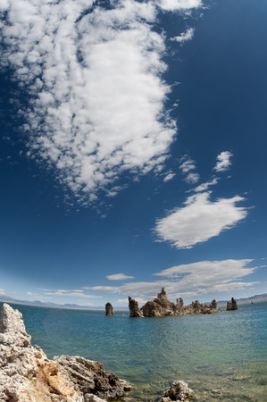 Mono Lake in the Summer with vibrant colors through a super wide angle.
