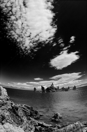 black mammoth: Mono Lake in Black and White, super wide angle and dramatic sky.