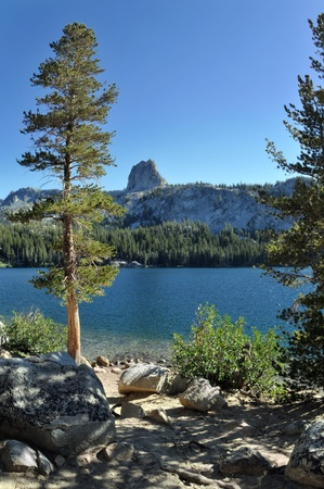 inyo national forest: Mammoth Lakes, Lake George and its cristaline waters reflecting the mountain range in Sierra Nevada.