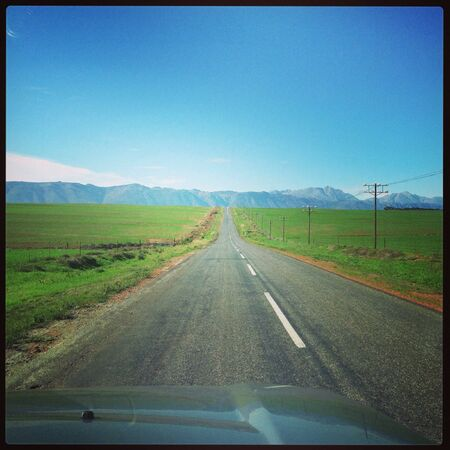 open road: Green and blue colours beautiful open road landscape