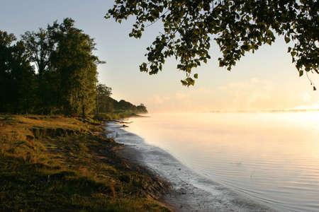 spring morning on the lake Stock Photo