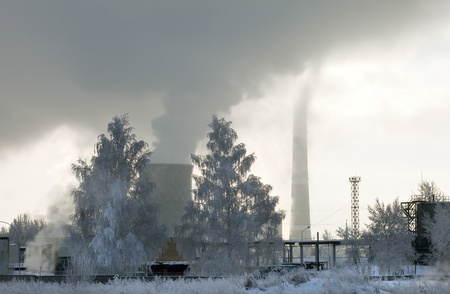 cold winter morning near the energy industries photo