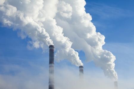 cold winter morning near the energy industries Standard-Bild