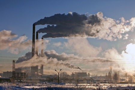 cold winter morning near the energy industries Stock Photo